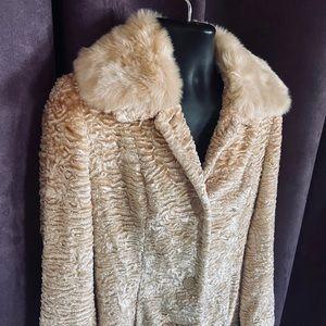 Valerie Stevens Gorgeous Gold Faux Fur Long Coat